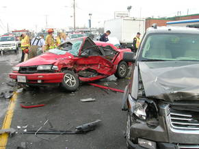 Rescuers responding to a hell of a wreck 5 both cars visable